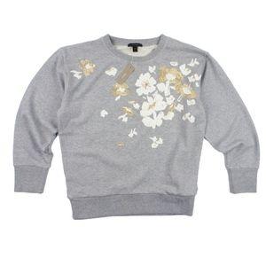 New JCREW Gray Embroidered Flower Sweatshirt